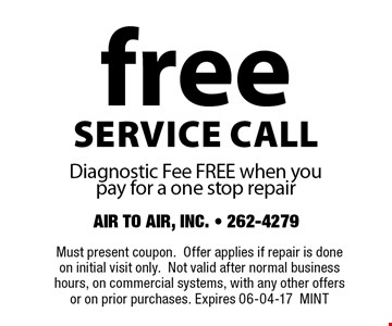 freeservice callDiagnostic Fee FREE when you pay for a one stop repair. Must present coupon.Offer applies if repair is done on initial visit only.Not valid after normal business hours, on commercial systems, with any other offers or on prior purchases. Expires 06-04-17MINT