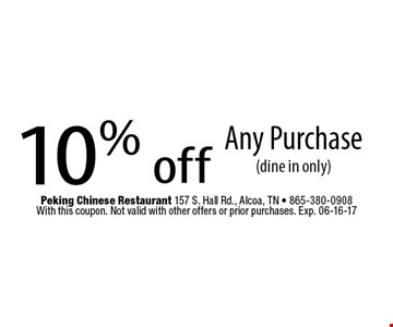 10% off Any Purchase(dine in only). With this coupon. Not valid with other offers or prior purchases. Exp. 06-16-17