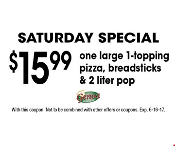 Saturday Special $15.99 one large 1-topping pizza, breadsticks & 2 liter pop. With this coupon. Not to be combined with other offers or coupons. Exp. 6-16-17.