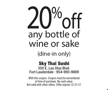 20% off any bottle of wine or sake (dine-in only). With this coupon. Coupon must be surrenderedat time of purchase. No cash value.Not valid with other offers. Offer expires 12-31-17.