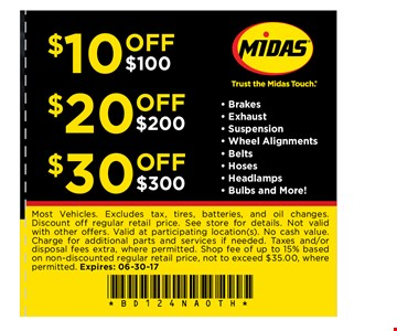 $49.99 per axle. Installation extra Brake service. Most Vehicles. *Lifetime guarantee valid on Midas Brake Pads and Shoes for as long as you own your car. See store for details. Not valid with other offers. Charge for additional parts/services if needed. Valid at participating location(s). No cash value. Tax and Shop fee extra, up to 15% based on non-discounted retail price, not to exceed $35.00, where permitted. Plus disposal fee where permitted. Expires: 06-30-17