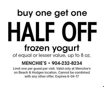 buy one get onehalf off frozen yogurtof equal or lesser value, up to 8 oz.. Limit one per guest per visit. Valid only at Menchie's on Beach & Hodges location. Cannot be combined with any other offer. Expires 6-04-17