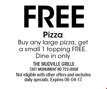 Free PizzaBuy any large pizza, get a small 1 topping FREE. Dine in only. Not eligible with other offers and excludes daily specials. Expires 06-04-17.