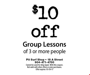 $10off Group Lessonsof 3 or more people. Cannot be used for ding repair. With this coupon.