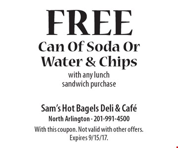 Free Can Of Soda Or Water & Chips with any lunch sandwich purchase. With this coupon. Not valid with other offers. Expires 9/15/17.