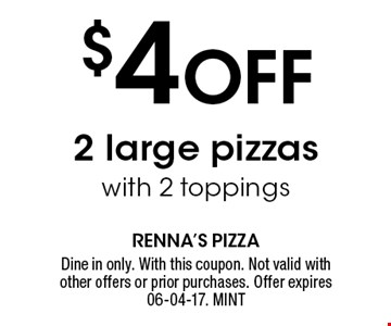 $4 Off 2 large pizzaswith 2 toppings. Dine in only. With this coupon. Not valid with other offers or prior purchases. Offer expires 06-04-17. MINT