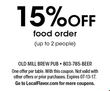 15% Off food order(up to 2 people). One offer per table. With this coupon. Not valid with other offers or prior purchases. Expires 07-13-17.Go to LocalFlavor.com for more coupons.