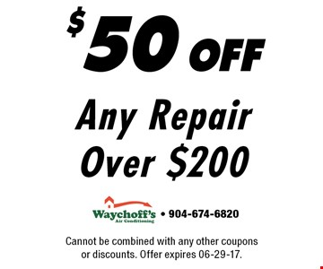$50 off Any Repair Over $200. Cannot be combined with any other coupons or discounts. Offer expires 06-29-17.- 904-674-6820