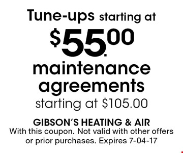 $55.00 Tune-ups starting at. With this coupon. Not valid with other offers or prior purchases. Expires 7-04-17