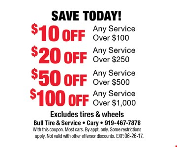 Save Today!$10 offAny Service Over $100. Excludes tires and wheelsBull Tire & Service - Cary - 919-467-7878With this coupon. Most cars.By appt. only. Some restrictions apply. Not valid with other offers or discounts. Exp. 06-26-17.