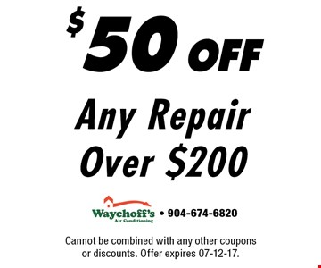 $50 offAny Repair Over $200. Cannot be combined with any other coupons or discounts. Offer expires 07-12-17.- 904-674-6820