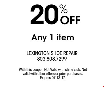 20% OFF Any 1 item. With this coupon.Not Valid with shine club. Not valid with other offers or prior purchases. Expires 07-13-17.