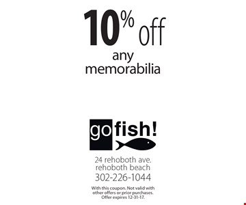 10% off any memorabilia. With this coupon. Not valid with other offers or prior purchases. Offer expires 12-31-17.
