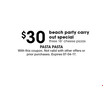$30 With this coupon. Not valid with other offers or prior purchases. Expires 07-04-17.