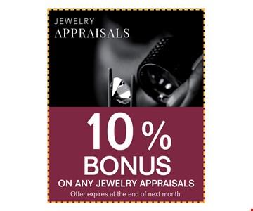 10% bonus on any jewelry appraisals. offer expires 06-30-17