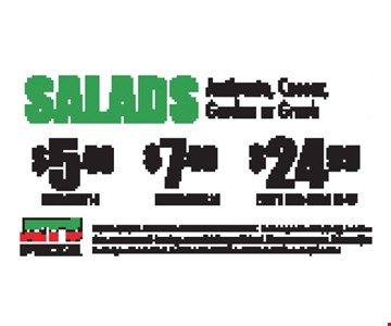 Salads! $5.49 Small, Feeds 1-2 OR $7.49 Medium, Feeds 2-3 OR $24.99 Party Size, Feeds 12-15. Choice of Antipasto, Caesar, Garden or Greek. Expires 9/15/17. Franklin & Hillsboro only. Extra or premium toppings, substitutions, extra sauces & dressings, tax and delivery additional. Must present coupon. Prices subject to change without notice. Nutrition information available at JetsPizza.com/Nutrition