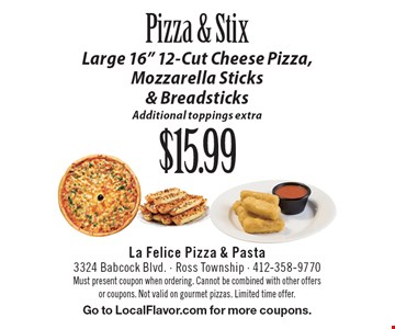 Pizza & Stix $15.99 Large 16
