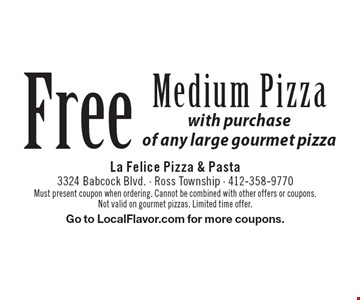 Free Medium Pizza with purchase of any large gourmet pizza. Must present coupon when ordering. Cannot be combined with other offers or coupons. Not valid on gourmet pizzas. Limited time offer. Go to LocalFlavor.com for more coupons.