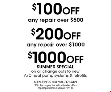 $100 OFF any repair over $500. With this coupon. Not valid with other offers or prior purchases. Expires 07-22-17.