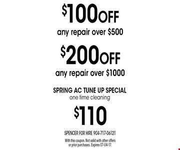 $100 OFF any repair over $500. With this coupon. Not valid with other offers or prior purchases. Expires 07-04-17.