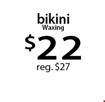 bikini Waxing $22 reg. $27. With this Clipper coupon. Not valid with other offers or prior services. Offer expires 07-24-17.