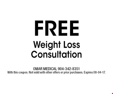 free Weight Loss Consultation. OMAR MEDICAL 904-342-8351With this coupon. Not valid with other offers or prior purchases. Expires 08-04-17.