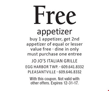 Free appetizer buy 1 appetizer, get 2nd appetizer of equal or lesser value free - dine in only must purchase one entree. With this coupon. Not valid with other offers. Expires 12-31-17.