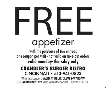 Free appetizer with the purchase of two entrees. One coupon per visit. Not valid on take-out orders. Valid Monday-Thursday only. With this coupon. Valid at Delhi/Cleves-Warsaw location only. Not valid with other offers. Expires 9-15-17.
