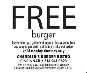 Free burger. Buy one burger, get one of equal or lesser value free. One coupon per visit. Not valid on take-out orders. Valid Monday-Thursday only. With this coupon. Valid at Delhi/Cleves-Warsaw location only. Not valid with other offers. Expires 9-15-17.