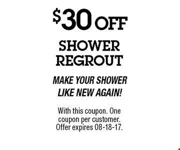 $30 OFF With this coupon. One coupon per customer.Offer expires 8-18-17.