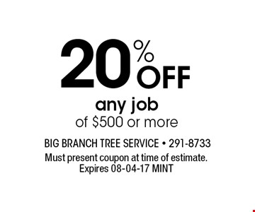 20% Off any job of $500 or more. Must present coupon at time of estimate. Expires 08-04-17 MINT