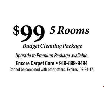 $99   Carpet Cleaning . Upgrade to Premium Package available.Encore Carpet Care - 919-899-9494Cannot be combined with other offers. Expires07-24-17.