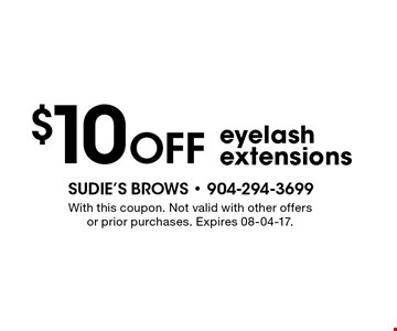 $10 Off eyelash extensions. With this coupon. Not valid with other offers or prior purchases. Expires 08-04-17.
