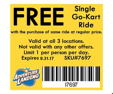 FREE Single Go-Kart Ridewith the purchase of same ride at regular price. Valid at all 3 locations. Not valid with any other offers. Limit 1 per person per day. Expires8.30.16. SKU#7697