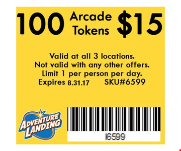 $15 100 Arcade Tokens. Valid at all 3 locations. Not valid with any other offers. Limit 1 per person per day. Expires 8.30.16. SKU#6599