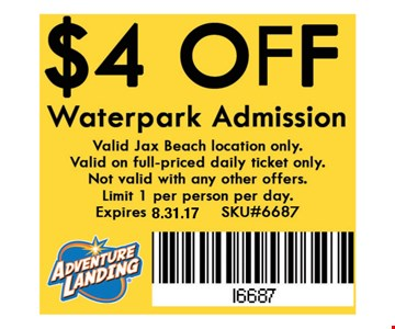$4 OFF Waterpark Admission. Valid Jax Beach location only. Valid on full-priced daily ticket only. Not valid with any other offers. Limit 1 per person per day. Expires 8.31.16. SKU#6687