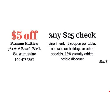 $5 off any $25 check.dine in only. 1 coupon per table. not valid on holidays or other specials. 18% gratuity added before discount. MINT
