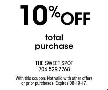 10%OFF totalpurchase. With this coupon. Not valid with other offersor prior purchases. Expires 08-19-17.