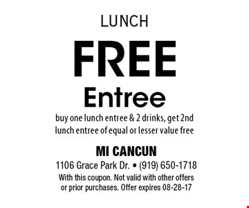 $5 off Any Orderof $25 or more. MI CANCUN 1106 Grace Park Dr. - (919) 650-1718With this coupon. Not valid with other offers or prior purchases. Offer expires 08-28-17