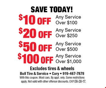 Save Today!$10 offAny Service Over $100. Excludes tires and wheelsBull Tire & Service - Cary - 919-467-7878With this coupon. Most cars.By appt. only. Some restrictions apply. Not valid with other offers or discounts. Exp. 08-28-17.
