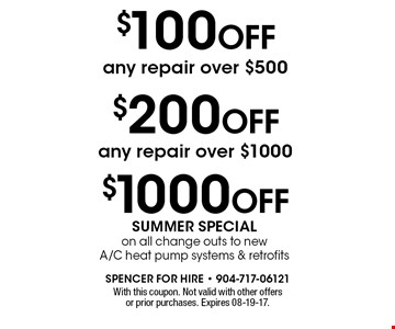 $100 OFF any repair over $500. With this coupon. Not valid with other offers or prior purchases. Expires 08-19-17.