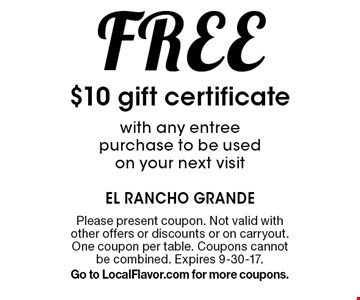 $11 Off any purchase of $50 or more. Please present coupon. Not valid with other offers or discounts or on carry out. One coupon per table. Expires 9-30-17.Go to LocalFlavor.com for more coupons.