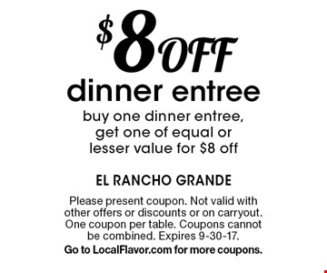$5 Off lunch entreebuy one lunch entree, get one of equal or lesser value for $5 off. Please present coupon. Not valid with other offers or discounts or on carry out. One coupon per table. Expires 9-30-17.Go to LocalFlavor.com for more coupons.