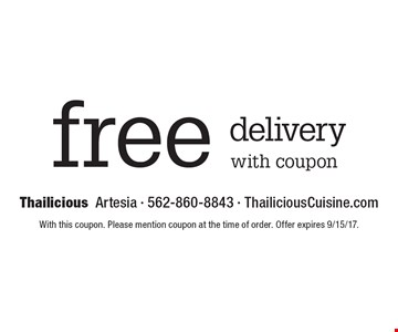 Free delivery with coupon. With this coupon. Please mention coupon at the time of order. Offer expires 9/15/17.