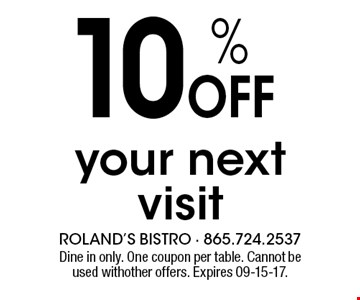 10 % Offyour next visit. Dine in only. One coupon per table. Cannot be used withother offers. Expires 09-15-17.
