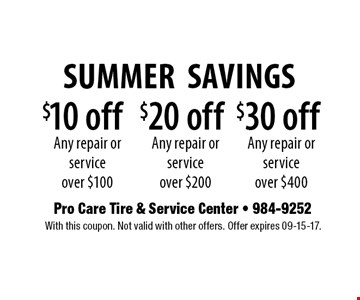 $10 off Any repair or service over $100. With this coupon. Not valid with other offers. Offer expires 09-15-17.