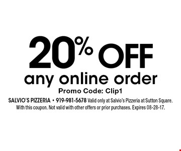 20% OFF any online order Promo Code: Clip1. Salvio's Pizzeria - 919-981-5678 Valid only at Salvio's Pizzeria at Sutton Square. With this coupon. Not valid with other offers or prior purchases. Expires 08-28-17.