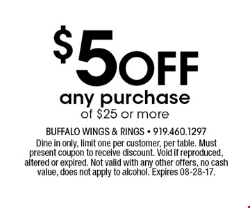 $5Offany purchase of $25 or more. Dine in only, limit one per customer, per table. Must present coupon to receive discount. Void if reproduced, altered or expired. Not valid with any other offers, no cash value, does not apply to alcohol. Expires 08-28-17.