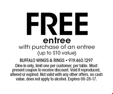Freeentreewith purchase of an entree (up to $10 value). Dine in only, limit one per customer, per table. Must present coupon to receive discount. Void if reproduced, altered or expired. Not valid with any other offers, no cash value, does not apply to alcohol. Expires 08-28-17.