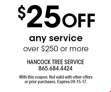 $25 OFF any service over $250 or more. With this coupon. Not valid with other offers or prior purchases. Expires 09-15-17.